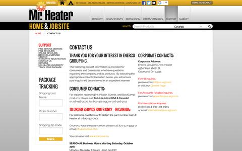 Screenshot of Contact Page mrheater.com - Contact Us - captured Dec. 12, 2018