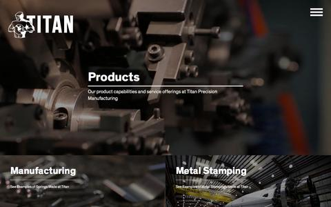 Screenshot of Products Page titanspring.com - Leaders in Aerospace Products Manufacturing | Titan - captured Oct. 28, 2017