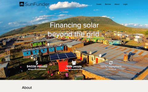 Screenshot of About Page sunfunder.com - SunFunder | Financing solar beyond the grid - captured Dec. 4, 2015