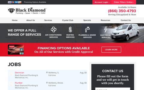 Screenshot of Jobs Page blackdiamondtoday.com - Jobs | Black Diamond Plumbing & Mechanical Inc. - captured Oct. 5, 2016