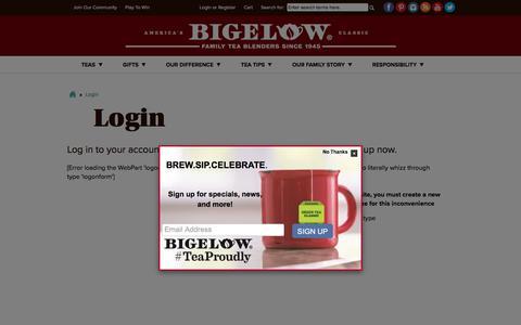 Screenshot of Login Page bigelowtea.com - Login - Bigelow Tea - captured Aug. 2, 2018