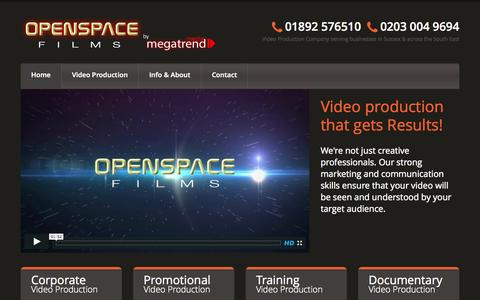 Screenshot of Home Page openspacefilms.tv - Video Production Company – Sussex & South East England | OpenSpaceFilms.tv | - captured Aug. 16, 2015