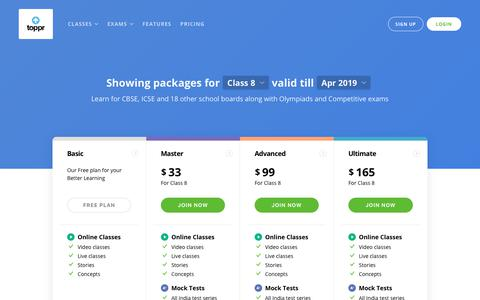 Screenshot of Pricing Page toppr.com - Toppr: Simple and Flexible Pricing Plans - captured Feb. 5, 2019