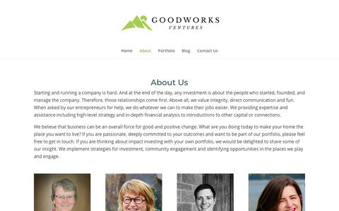 Screenshot of About Page goodworksventures.com - About Us - Starting and running a company is hard. - captured July 21, 2018