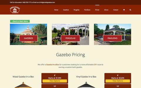 Screenshot of Pricing Page amishgazebos.com - Gazebo Pricing - Wood and Vinyl Options   Amish Country Gazebos - captured March 1, 2017
