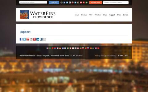 Screenshot of Support Page waterfire.org - WaterFire Providence Support - WaterFire Providence - captured Jan. 19, 2016