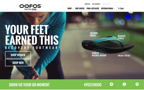 Screenshot of Home Page oofos.com - OOFOS Shop - captured April 13, 2016