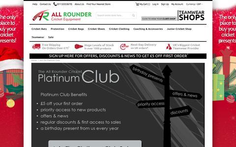 Screenshot of Signup Page allroundercricket.com - Join the Platinum Club - captured Dec. 24, 2015
