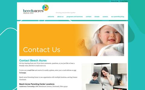 Screenshot of Contact Page beechacres.org - Contact Beech Acres Parenting Center by phone, mail, email or faxBeech Acres Parenting Center - captured Oct. 5, 2014