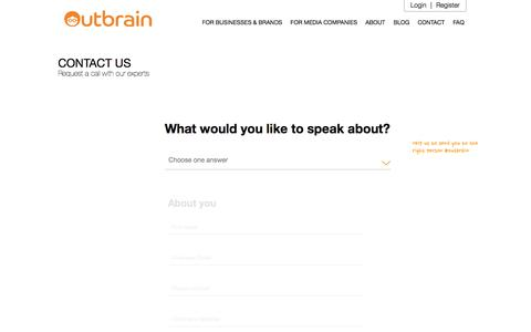 Screenshot of Contact Page outbrain.com - Contact Us And Get Started | Outbrain.com - captured Sept. 2, 2017