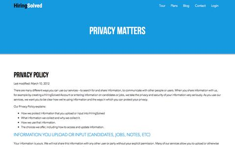 Screenshot of Privacy Page hiringsolved.com - Privacy Policy | HiringSolved - captured Nov. 17, 2015