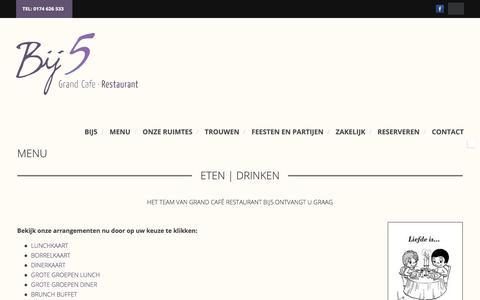 Screenshot of Menu Page bij5.nl - MENU | Bij5 - captured Sept. 6, 2017