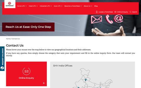 Screenshot of Contact Page supergas.com - Contact SUPERGAS, Call back to SUPERGAS, Get SUPERGAS offices Details - captured Sept. 22, 2018