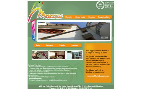 Screenshot of Services Page hostalmacaw.com - Services - Guayaquil hotel Guayaquil Macaw Guayaquil accommodation Guayaquil bed breakfast lodging Ecuador Galapagos Net - captured Sept. 30, 2014