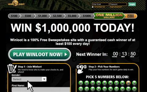 Screenshot of Home Page winloot.com - Winloot - free online lotto style sweepstakes game - captured Sept. 10, 2015