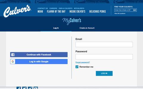 Screenshot of Login Page culvers.com - Log in - captured Sept. 27, 2018