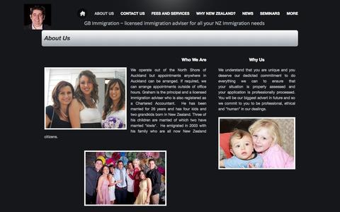 Screenshot of About Page webs.com - All New Zealand Immigration by a Licensed Immigration Adviser - About Us - captured Sept. 12, 2014