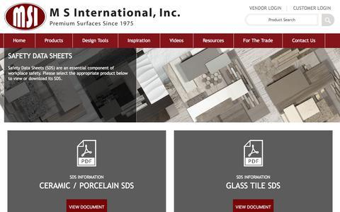 Screenshot of msistone.com - SDS Informations | M S International, Inc. | Premium Surfaces - captured Nov. 2, 2017