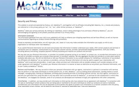 Screenshot of Privacy Page medaltus.com - MedAltus (tm) :: contact us anytime > privacy policy - captured Sept. 30, 2014