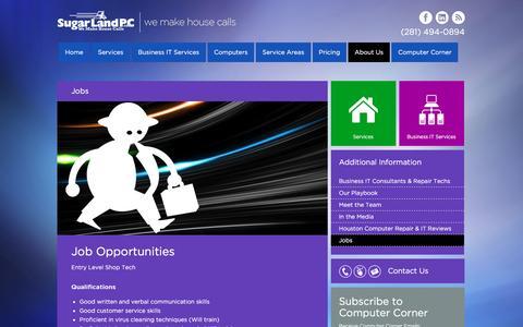 Screenshot of Jobs Page sugarlandpc.com - Jobs at SugarLandPC - captured Dec. 17, 2016