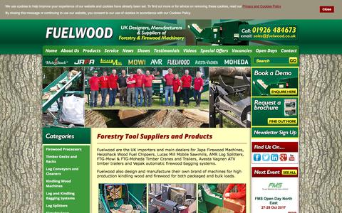 Screenshot of Products Page fuelwood.co.uk - Forestry Tool Suppliers and Products - captured Oct. 14, 2017