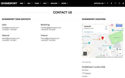 Screenshot of Contact Page givemesport.com - Contact Us | GiveMeSport - captured Sept. 21, 2018