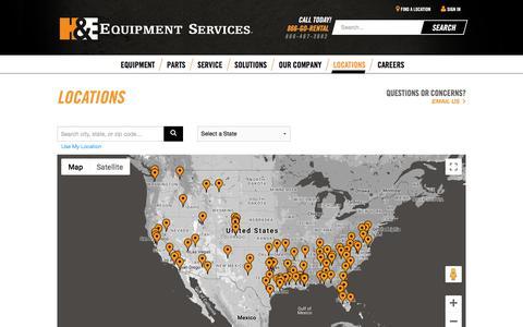 Screenshot of Locations Page he-equipment.com - Locations - H&E Equipment Services - captured Sept. 25, 2018