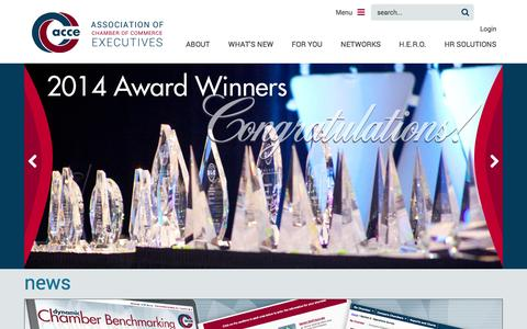 Screenshot of Home Page acce.org - Association of Chamber of Commerce Executives - Association of Chamber of Commerce Executives - captured Sept. 19, 2014