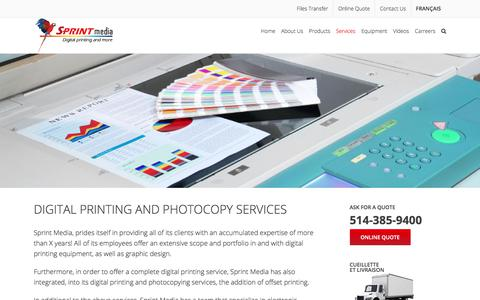 Screenshot of Services Page sprintmedia.ca - Digital Printing And Photocopy Services in Montreal : Sprint Media - captured March 29, 2018
