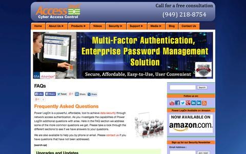 Screenshot of FAQ Page access-smart.com - Power LogOn - FAQs with our Enterprise Password Manager - captured Oct. 10, 2014