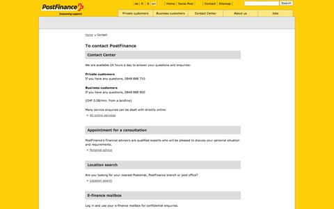 Screenshot of Contact Page postfinance.ch - PostFinance - Contact - captured Sept. 18, 2014