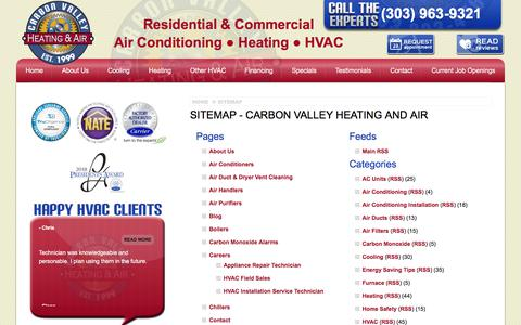 Screenshot of Site Map Page carbonvalleyheatingandair.com - Sitemap - Carbon Valley Heating and Air - Firestone Air Conditioning Company - captured July 16, 2018