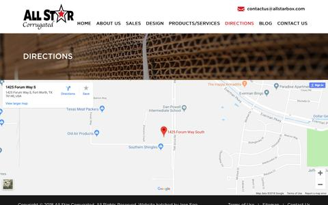 Screenshot of Maps & Directions Page allstarbox.com - Directions | All Star - captured Oct. 3, 2018