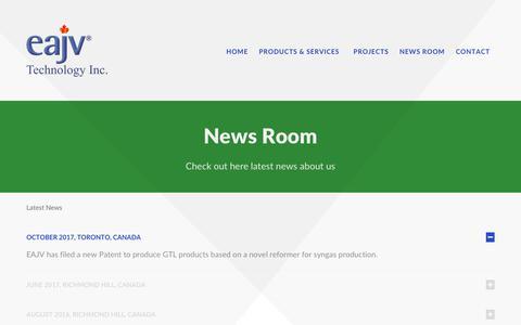 Screenshot of Press Page eajv.ca - News Room - captured Sept. 25, 2018