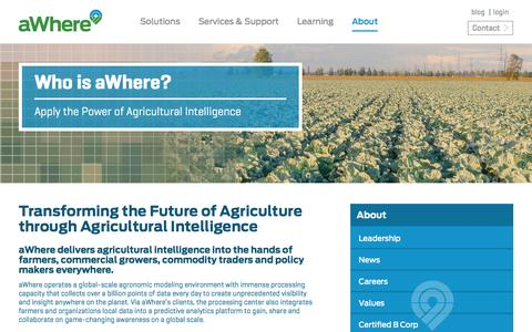 Screenshot of About Page awhere.com - Ag Software Company, Ag Software Solutions | aWhere - captured Feb. 5, 2016