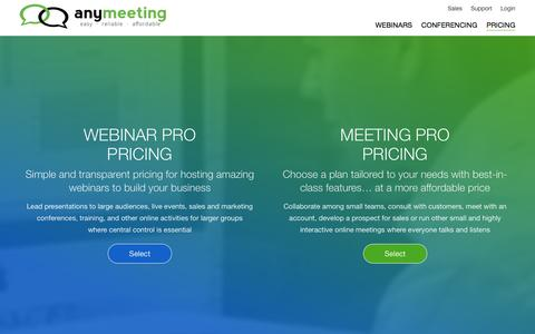 Screenshot of Pricing Page anymeeting.com - Online Meeting and Webinars Pricing | AnyMeeting - captured May 9, 2017