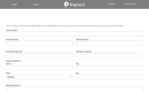 Screenshot of Support Page truplace.com - TruPlace Support will ensure you get the best possible service - captured June 16, 2017