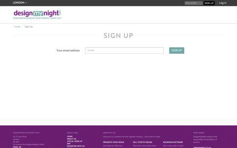 Screenshot of Signup Page designmynight.com - Sign Up to DesignMyNight London | DesignMyNight - captured Oct. 22, 2014