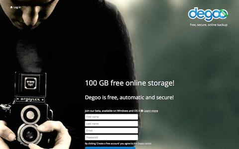 Screenshot of Landing Page degoo.com - 100 GB free online backup | Degoo - captured Oct. 27, 2014