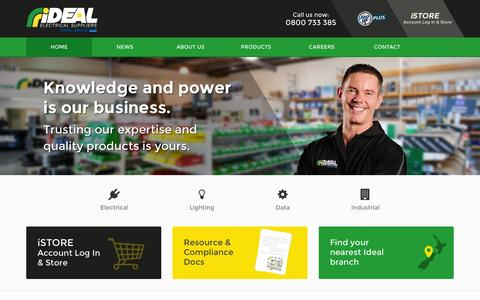 Screenshot of Home Page ideal.co.nz - Ideal Electrical Suppliers - Branches throughout New Zealand - captured Feb. 14, 2016