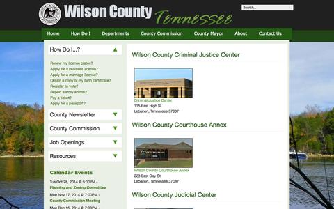 Screenshot of Locations Page wilsoncountytn.com - Wilson County Tennessee - Location Information - captured Oct. 26, 2014