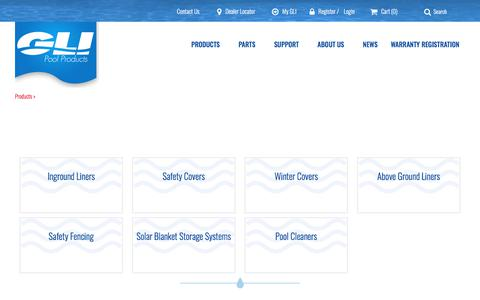 Screenshot of Products Page glipoolproducts.com - GLI Pool Products - captured July 15, 2018