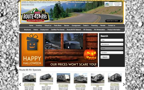 Screenshot of Home Page route66rvs.com - Claremore Oklahoma RV Dealer | Tulsa OK RV Service | Claremore, Oklahoma RV Sales - captured Oct. 6, 2014