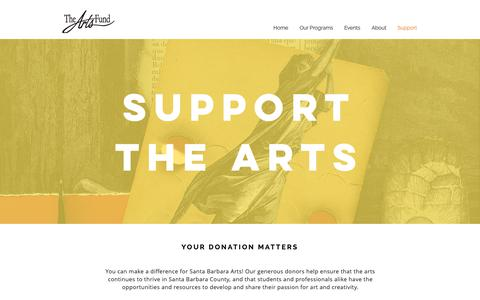 Screenshot of Support Page artsfundsb.org - Support the Arts | The Arts Fund | Santa Barbara - captured Nov. 12, 2018