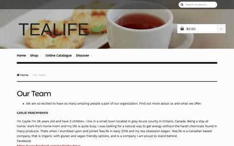 Screenshot of Team Page tealife.ca - Our Team - Tealife - captured Oct. 20, 2017