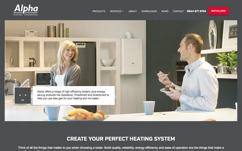 Screenshot of Home Page alpha-innovation.co.uk - High Efficiency Boilers from Alpha Heating Innovation - captured Oct. 4, 2014