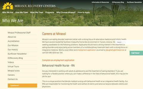 Screenshot of Jobs Page mirasol.net - Job Openings and Career Opportunities for Health Professionals at Mirasol in Tucson, Arizona - captured Oct. 20, 2018