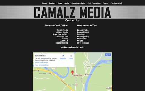 Screenshot of Contact Page camalzmedia.co.uk - Camalz Media - Contact Us - captured Sept. 26, 2014
