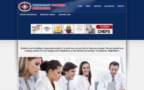 Screenshot of Home Page broadcastsystemsintegration.com - Broadcast Systems Integration - captured Sept. 30, 2014
