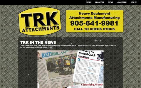 Screenshot of Press Page trkattach.ca - TRK in the News - captured Sept. 23, 2014